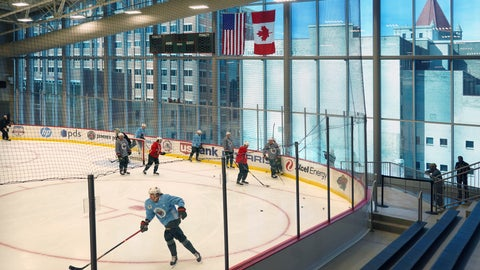 <p>               Minnesota Wild players take part in the NHL hockey team's training camp Monday, July 13, 2020, in St. Paul, Minn., after a break in the season because of the coronavirus pandemic. (Brian Peterson/Star Tribune via AP)             </p>