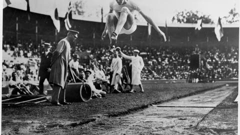 <p>               FILE - In this 1912 file photo, Albert Gutterson, of the United States, competes in the long jump at the 1912 Olympic Games in Stockholm. Gutterson went on to win the gold. (Pressens Bild/TT via AP)             </p>