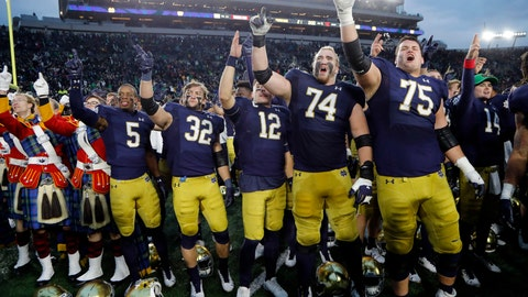 <p>               FILE - In this Nov. 2, 2019, file photo, members of the Notre Dame football team sing after an NCAA college football game against Virginia Tech in South Bend, Ind. The Atlantic Coast Conference and Notre Dame are considering whether the Fighting Irish will give up their treasured football independence for the 2020 season play as a member of the league. (AP Photo/Carlos Osorio, File)             </p>