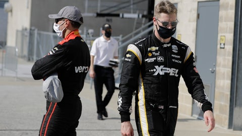 <p>               Josef Newgarden, right, walks past Will Power, of Australia, after Power won the pole for the IndyCar auto race at Indianapolis Motor Speedway in Indianapolis, Friday, July 3, 2020. (AP Photo/Darron Cummings)             </p>