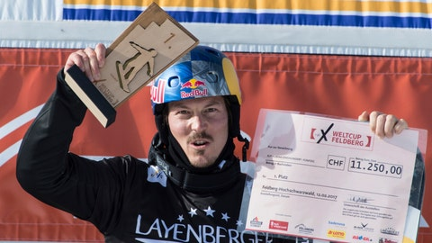 <p>               FILE - In this Feb. 12, 2017, file photo, winner Alex Pullin from Australia cheers at the snow boarding cross World Cup in Feldberg, Germany. Two-time world snowboard champion and Winter Olympian Alex Pullin drowned Wednesday, July 8, 2020, while spearfishing on Australia's Gold Coast. (Patrick Seeger/dpa via AP, File)             </p>
