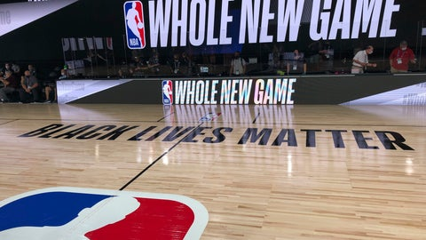 "<p>               A basketball court is shown at the ESPN Wide World of Sports complex in Kissimmee, Fla., Tuesday, July 21, 2020. The NBA's marketing motto for the restart of the season at Walt Disney World is ""Whole New Game,"" and in many respects, that's very true. (AP Photo/Tim Reynolds)             </p>"
