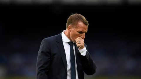 <p>               Leicester's manager Brendan Rodgers reacts after the English Premier League soccer match between Everton and Leicester at Goodison Park in Liverpool, England, Wednesday, July 1, 2020. Everton won 2-1. (Peter Powell/Pool via AP)             </p>