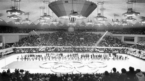 <p>               FILE - In this Feb. 13, 1972, file photo, Olympic rings in the center of the Makomanai ice arena is seen during the closing ceremony of the Winter Olympics, in Sapporo, Japan. Yasuhiro Yamashita, the president of the Japanese Olympic Committee, said Tuesday, July 14, 2020, that if Tokyo can pull off next year's Summer Olympics, then the Japanese city of Sapporo could be in good standing with a bid to hold the 2030 Winter Olympics.  (AP Photo)             </p>