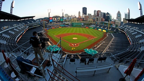 <p>               The Cleveland Indians and the Pittsburgh Pirates play an exhibition baseball game at PNC Park in Pittsburgh, Saturday, July 18, 2020. (AP Photo/Gene J. Puskar)             </p>