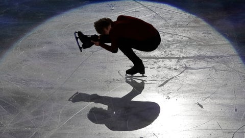 <p>               FILE - In this March 25, 2018, file photo, Deniss Vasiljevs of Latvia performs during the gala exhibition at the Figure Skating World Championships in Assago, near Milan, Italy. The International Skating Union has formally canceled its figure skating and short track world championships because of the coronavirus pandemic. (AP Photo/Luca Bruno, File)             </p>