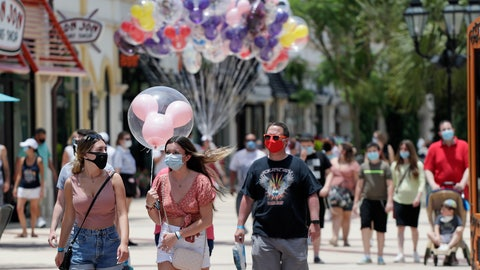 <p>               FILE - In this June 16, 2020, file photo, guests required to wear masks because of the coronavirus stroll through the Disney Springs shopping, dining and entertainment complex in Lake Buena Vista, Fla. Magic Kingdom and Animal Kingdom will reopen on July 11. In May, the company opened Disney Springs. (AP Photo/John Raoux, File)             </p>
