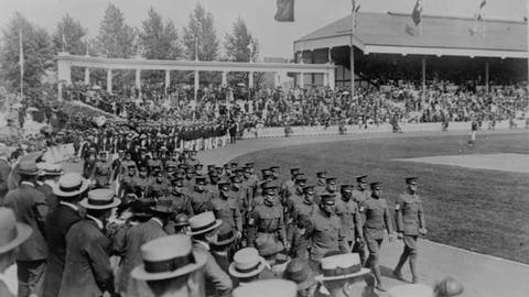<p>               FILE - In this Aug. 26, 1920, file photo, the Olympics are held at the Antwerp Stadium, showing the U.S. contingent leading all the athletes in the procession around the field on, after which they proceeded to lead all competition in the athletic events. (AP Photo/File)             </p>