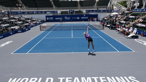 <p>               Springfield Laser tennis player Olga Govortsova delivers a serve during the World TeamTennis tournament at The Greenbrier resort Sunday July 12, 2020, in White Sulphur Springs, W.Va. (AP Photo/Steve Helber)             </p>