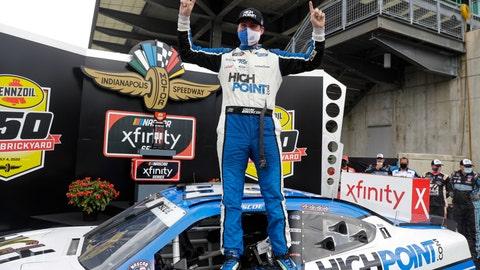 <p>               NASCAR Xfinity Series driver Chase Briscoe celebrates winning the NASCAR Xfinity Series auto race at Indianapolis Motor Speedway in Indianapolis, Saturday, July 4, 2020. (AP Photo/Darron Cummings)             </p>