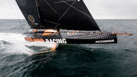 <p>               This July 25, 2020 photo provided by 11th Hour Racing shows the 11th Hour Racing Team during training off the coast of Concarneau, France, after a long winter of modifications. The team will sail the boat across the Atlantic to Rhode Island starting Saturday, Aug. 1, 2020, as it shifts its training base for the next Ocean Race, which has been delayed a year to 2022 due to COVID-19. (Amory Ross/11th Hour Racing via AP)             </p>