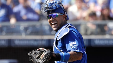 <p>               FILE - In this Wednesday, March 4, 2020, file photo, Kansas City Royals catcher Salvador Perez smiles as he turns to a teammate who made an out on a difficult play against the San Diego Padres in the first inning during a spring training baseball game in Peoria, Ariz. (AP Photo/Elaine Thompson, File)             </p>