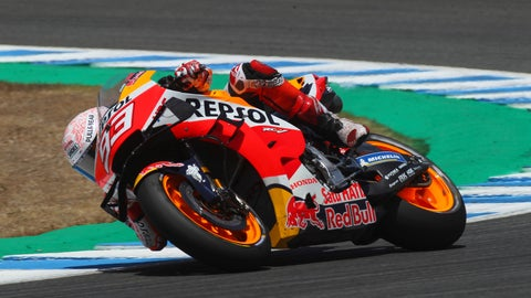 <p>               MotoGP rider Marc Marquez of Spain steers his motorcycle during the Spanish Motorcycle Grand Prix at the Angel Nieto racetrack in Jerez de la Frontera, Spain, Sunday, July 19, 2020. (AP Photo/David Clares)             </p>