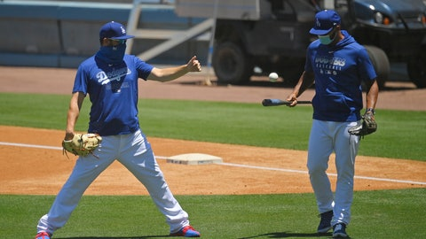 <p>               Members of the Los Angeles Dodgers warm up during the restart of spring baseball training, Friday, July 3, 2020, in Los Angeles. (AP Photo/Mark J. Terrill)             </p>
