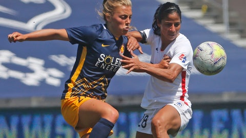 <p>               Utah Royals FC defender Madeline Nolf, left, battles with OL Reign midfielder Shirley Cruz, right, during the first half of an NWSL Challenge Cup soccer match at Zions Bank Stadium Wednesday, July 8, 2020, in Herriman, Utah. (AP Photo/Rick Bowmer)             </p>