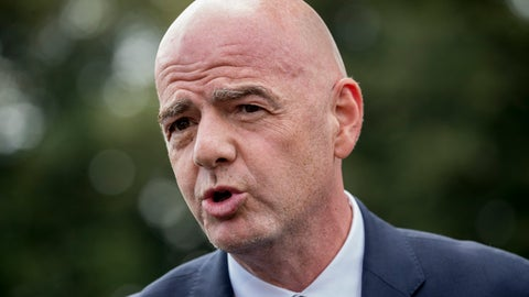 "<p>               FILE - In this Monday, Sept. 9, 2019 file photo, FIFA president Gianni Infantino speaks to members of the media on the South Lawn of the White House in Washington. Soccer governing body FIFA says its $1.5 billion coronavirus relief plan to revive the sport and help national associations stay afloat comes with ""strict compliance and audit requirements."" ""This relief plan is a great example of football's solidarity and commitment in such unprecedented times,"" FIFA President Gianni Infantino said Wednesday, July 29, 2020. (AP Photo/Andrew Harnik, file)             </p>"
