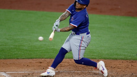 <p>               Texas Rangers' Willie Calhoun connects for a hit during an intrasquad practice baseball game at Globe Life Field in Arlington, Texas, Monday, July 6, 2020. (AP Photo/Tony Gutierrez)             </p>