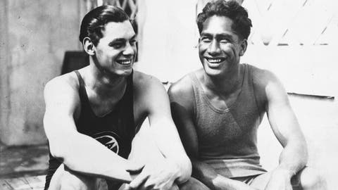 <p>               FILE - In this 1924 file photo, olympians Johnny Weissmuller, left, and Duke Kahanamoku are seen at the 1924 Olympic games in Paris. (AP Photo/File)             </p>