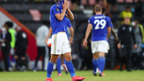 <p>               Leicester's Dennis Praet reacts after the English Premier League soccer match between Bournemouth and Leicester City at Vitality Stadium in Bournemouth, England, Sunday, July 12, 2020. (AP Photo/Michael Steele,Pool)             </p>