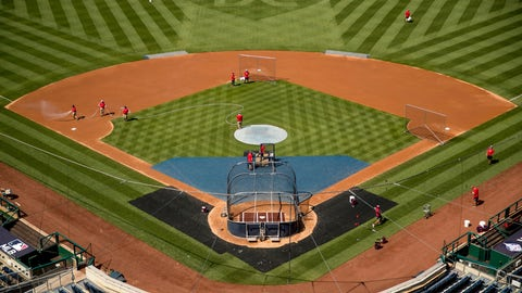 """<p>               A heart is visible in center field with the letters """"DC"""" as the Washington Nationals hold their first baseball training camp work out at Nationals Stadium, Friday, July 3, 2020, in Washington. (AP Photo/Andrew Harnik)             </p>"""