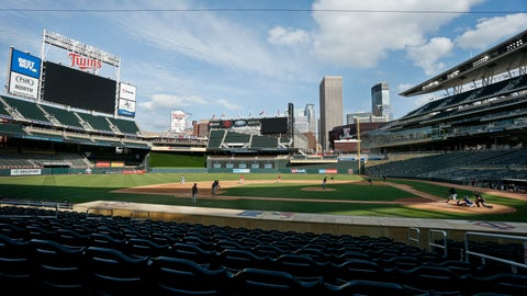 <p>               The Minnesota Twins play an intrasquad game at Target Field at baseball camp Monday, July 13, 2020, in Minneapolis. (AP Photo/Bruce Kluckhohn)             </p>