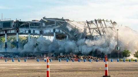 <p>               The Palace of Auburn Hills undergoes a controlled demolition in Auburn Hills, Mich., on Saturday, July 11, 2020. Opened in 1988, the multi-use stadium was the home of the Detroit Pistons as well as numerous concerts and sporting events. (David Guralnick/Detroit News via AP)             </p>