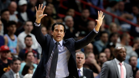 <p>               FILE - In this Feb. 28, 2020, file photo, Miami Heat head coach Erik Spoelstra calls out a play during the second half of an NBA basketball game against the Dallas Mavericks in Miami. The Heat enter the NBA restart fourth in the Eastern Conference. (AP Photo/Wilfredo Lee, File)             </p>