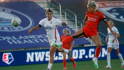<p>               Houston Dash forward Rachel Daly, front right, takes a shot as OL Reign defender Amber Brooks, right., looks on during the first half of an NWSL Challenge Cup soccer match at Zions Bank Stadium, Saturday, July 4, 2020, Herriman, Utah. (AP Photo/Rick Bowmer)             </p>