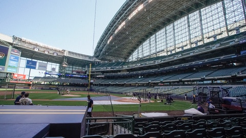 <p>               Milwaukee Brewers during a practice session Saturday, July 4, 2020, at Miller Park in Milwaukee. (AP Photo/Morry Gash)             </p>