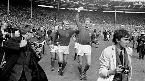 <p>               FILE - In this July 30, 1966 file photo England's Jack Charlton, right, holds the Jules Rimet trophy aloft as he parades it around Wembley with teammate Bobby Moore following their 4-2 win over West Germany. England World Cup winner Jack Charlton has died aged 85 it was announced on Saturday July 11, 2020. (PA via AP)             </p>
