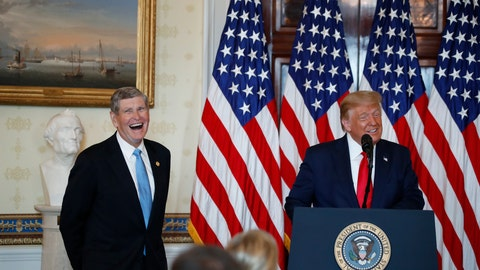 <p>               President Donald Trump speaks during an event to present the Presidential Medal of Freedom to Jim Ryun, left, in the Blue Room of the White House, Friday, July 24, 2020, in Washington. (AP Photo/Alex Brandon)             </p>
