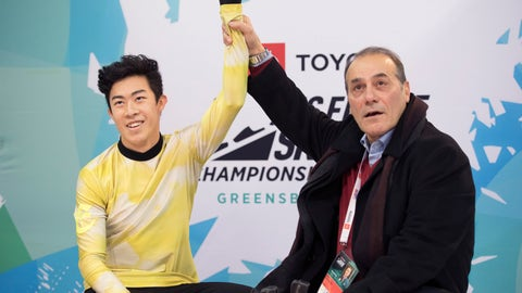 <p>               Nathan Chen with coach Raf Arutunian learn Chen's score after his the men's senior free skate program at the U.S. Figure Skating Championships, Sunday, Jan. 26, 2020, in Greensboro, N.C. (AP Photo/Lynn Hey)             </p>