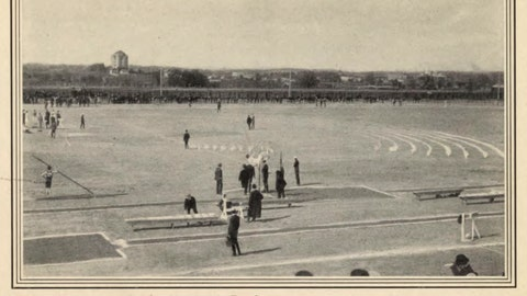 <p>               This image provided by the Library of Congress, shows the athletics field at the 1904 Olympic games in St. Louis. The St. Louis Games were the first at which gold medals were awarded to winners, and they remain the only medals made entirely of gold. (Library of Congress, Meeting of Frontiers via AP)             </p>
