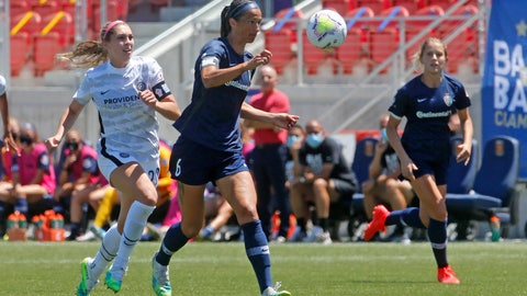<p>               North Carolina Courage defender Abby Erceg (6) controls the ball as Portland Thorns forward Morgan Weaver, left, defends during the second half of an NWSL Challenge Cup soccer match at Zions Bank Stadium Saturday, June 27, 2020, in Herriman, Utah. Coach Paul Riley calls defender Abby Erceg the bedrock of the North Carolina Courage. The New Zealand native is captain of the Courage, the two-time National Women's Soccer League defending champions. (AP Photo/Rick Bowmer)             </p>
