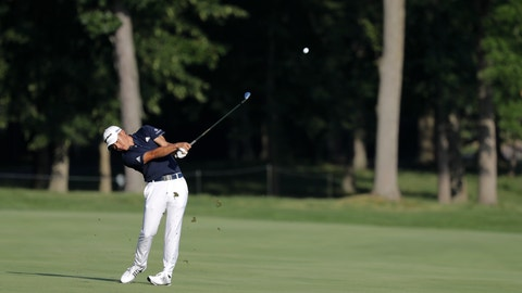 <p>               Coilin Morikawa hits on the 13th hole during the second round of the Workday Charity Open golf tournament, Friday, July 10, 2020, in Dublin, Ohio. (AP Photo/Darron Cummings)             </p>