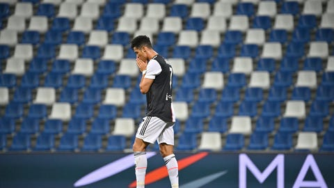<p>               Juventus' Cristiano Ronaldo reacts during a Serie A soccer match between Sassuolo and Juventus at the Mapei Stadium in Reggio Emilia, Italy, Wednesday, July 15, 2020. (Massimo Paolone/LaPresse via AP)             </p>