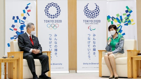 <p>               Tokyo's newly reelected Gov. Yuriko Koike, right, meets Tokyo 2020 President Yoshiro Mori at Tokyo Metropolitan Government headquarters in Tokyo Monday, July 6, 2020. Koike assured Mori that she plans to continue working with him on achieving the games, and agreed to his proposal to set up a meeting among officials from the government, Tokyo and Olympic organizers to discuss COVID-19 countermeasures. (Kyodo News via AP)             </p>