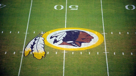 """<p>               FILE - In this Aug. 28, 2009 file photo, the Washington Redskins logo is shown on the field before the start of a preseason NFL football game against the New England Patriots in Landover, Md. The Washington Redskins are undergoing what the team calls a """"thorough review"""" of the nickname. In a statement released Friday, July 3, 2020, the team says it has been talking to the NFL for weeks about the subject. Owner Dan Snyder says the process will include input from alumni, sponsors, the league, community and members of the organization. FedEx on Thursday called for the team to change its name, and Nike appeared to remove all Redskins gear from its online store. (AP Photo/Nick Wass, File)             </p>"""