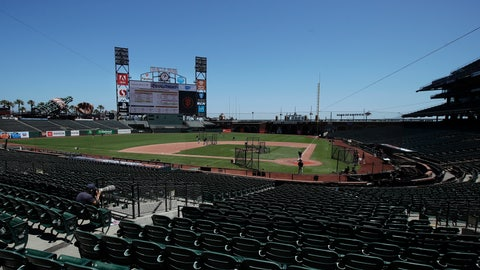 <p>               San Francisco Giants players work out at baseball practice at Oracle Park in San Francisco, Tuesday, July 14, 2020. (AP Photo/Jeff Chiu)             </p>