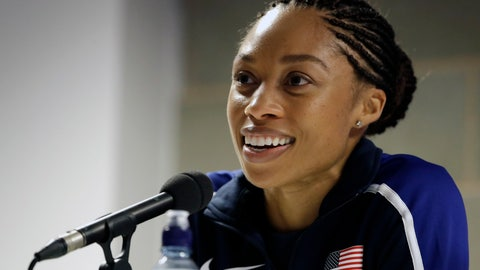 """<p>               FILE - In this Aug. 3, 2017, file photo, United States' Allyson Felix speaks during a press conference of the U.S. team prior to the World Athletics Championships in London. Early in her career, Allyson Felix would shy away from speaking on controversial subjects. The nine-time Olympic medalist stayed in her lane. Not anymore. Not since the birth of her daughter, Camryn. Felix wants her legacy to be improving maternity rights for athletes over her times and gold medals. """"I feel like I'm right where I'm supposed to be,"""" Felix said. """"I feel stronger than ever, just with everything I've been through.""""(AP Photo/Matthias Schrader, File)             </p>"""