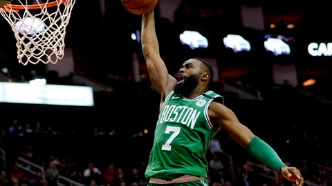 <p>               FILE - In this Feb. 11, 2020, file photo, Boston Celtics' Jaylen Brown goes up to dunk against the Houston Rockets during the second half of an NBA basketball game in Houston. Brown is encouraged by the steps the NBA is taking to connect with its players' desire to support social justice causes. He also says he wants to see the league go further with some of those plans as it prepares to restart the season later in Florida. (AP Photo/David J. Phillip, File)             </p>