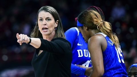 """<p>               FILE - In this Dec. 19, 2019, file photo, Duke coach Joanne P. McCallie communicates with players during the second half of the team's NCAA college basketball game against South Carolina, in Columbia, S.C. McCallie won't return for a 14th season as Duke's women's basketball coach. McCallie announced her departure in a 6-minute video posted Thursday, July 2, 2020, on the program's Twitter account. She said she was """"choosing to step away"""" as coach, saying she wanted to bring """"clarity"""" instead of uncertainty as she entered the final year of her contract. (AP Photo/Sean Rayford, File)             </p>"""