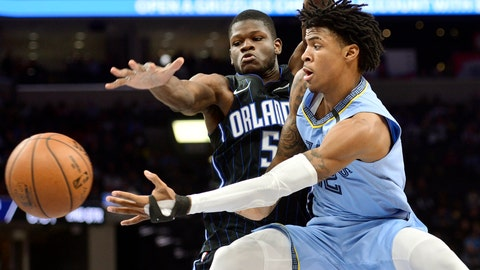 <p>               FILE - In this March 10, 2020, file photo, Memphis Grizzlies guard Ja Morant, right, passes the ball as Orlando Magic center Mo Bamba (5) defends during the first half of an NBA basketball game in Memphis, Tenn. Morant has taken advantage of the NBA's hiatus, adding 12 pounds of muscle to help absorb contact when the NBA's likely rookie of the year fearlessly attacks the basketball. (AP Photo/Brandon Dill, File)             </p>