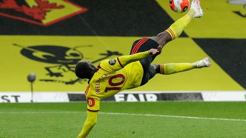 <p>               Walford's Danny Welbeck scores his team second goal during the English Premier League soccer match between Watford and Norwich City at the Vicarage Road Stadium in Watford, England, Tuesday, July 7, 2020. (AP Photo/Matt Dunham, Pool)             </p>