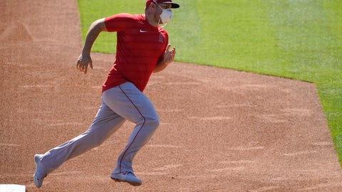 <p>               The Los Angeles Angels practice at Angels Stadium on Friday, July 3, 2020, in Anaheim, Calif. (AP Photo/Ashley Landis)             </p>