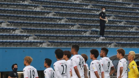 <p>               Consadole Sapporo players pose for a photo prior to their J-League soccer match against Yokohama FC at Nippatsu Stadium in Yokohama, near Tokyo Saturday, July 4, 2020. Japan's soccer league is back in action this weekend after a four-month delay because of the coronavirus pandemic. (AP Photo/Koji Sasahara)             </p>