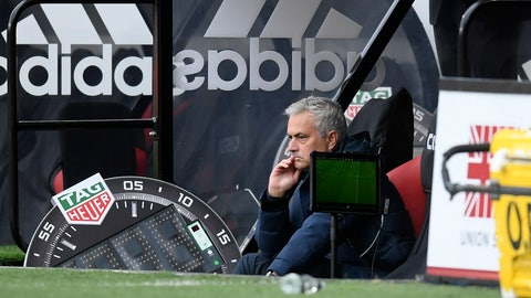 <p>               Tottenham's manager Jose Mourinho watches his players during the English Premier League soccer match between Sheffield United and Tottenham Hotspur at Bramall Lane in Sheffield, England, Thursday, July 2, 2020. (Michael Regan/Pool via AP)             </p>