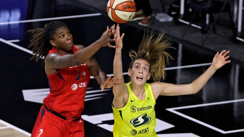 <p>               Washington Mystics forward Myisha Hines-Allen (2) goes up for a shot over Seattle Storm forward Breanna Stewart (30) during the first half of a WNBA basketball game Thursday, July 30, 2020, in Bradenton, Fla. (AP Photo/Chris O'Meara)             </p>