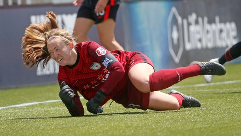 <p>               Chicago Red Stars goalkeeper Cassie Miller dives for the ball during the second half of an NWSL Challenge Cup soccer match against the Portland Thorns FC at Zions Bank Stadium on Wednesday, July 1, 2020, IN Herriman, Utah. (AP Photo/Rick Bowmer)             </p>