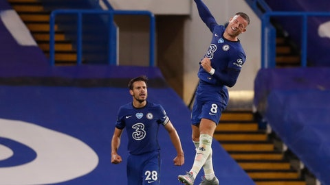 <p>               Chelsea's Ross Barkley, right, celebrates after scoring his side's third goal during the English Premier League soccer match between Chelsea and Watford at the Stamford Bridge stadium in London, Saturday, July 4, 2020. (Matthew Childs/Pool via AP)             </p>